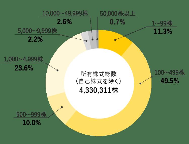 シリウスビジョン株式会社 株式所有株数別分布図